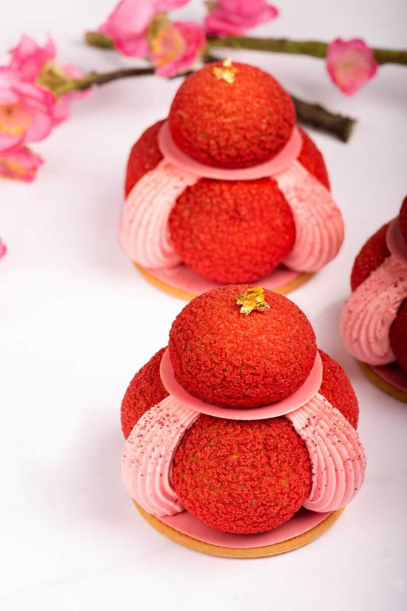 intricate red and pink pastry