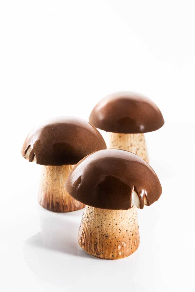 mushroom with brown cap pastry